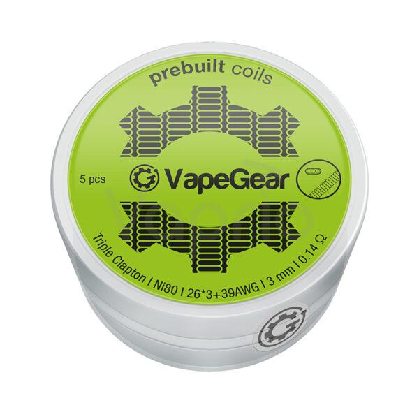 VapeGear eloretekert spiral Triple Clapton Ni80 0-14 Ohm